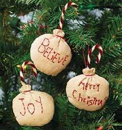 Believe, Joy, Merry Christmas Primitive Ornaments (Set of 3)
