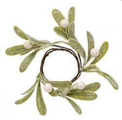 Glittered Mistletoe 2 inch Candle Ring