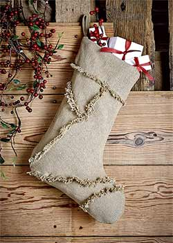 Burlap Christmas Stocking with Reverse Seam