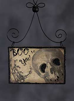 Boo Halloween Postcard Picture Ornament