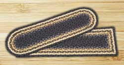 Light Blue, Dark Blue, and Mustard Braided Jute Stair Tread - Oval