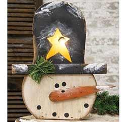 Light Up Rustic Snowman Box
