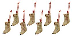 Tiny Stitched Stocking Ornaments (Set of 8)