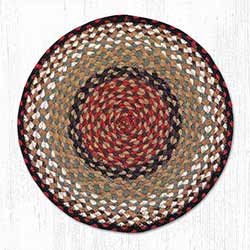 Burgundy, Grey and Creme Braided Jute Chair Pad