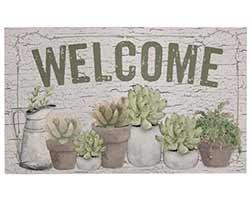 Welcome Floor Mat with Succulents