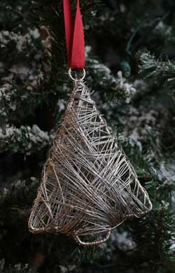 Silver Wrapped Metal Tree Ornament