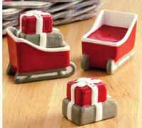 Sled and Package Salt and Pepper Shaker Set