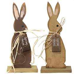 Wooden Spring Thyme Bunny Figurine