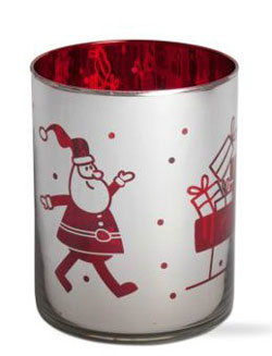 Magical Christmas Silver Glass Hurricane