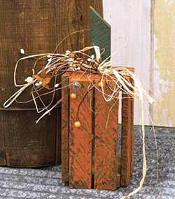 Orange Lath Crate Pumpkin - Vertical