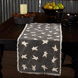 Black Primitive Star Table Runner, 36 inch