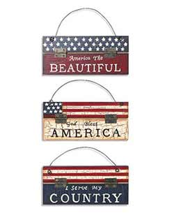 Americana Sign Ornaments (Set of 3)
