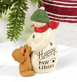 Happy Pawlidays Snowman With Dog