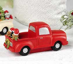 Red Christmas Truck With Dogs