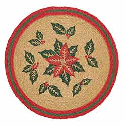 Poinsettia Braided Placemats (Set of 6) - Round