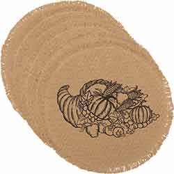 Giving Thanks Burlap Placemats (Set of 6) - Round