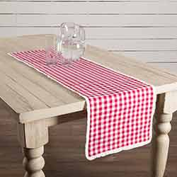 Emmie Red White Check 48 inch Table Runner