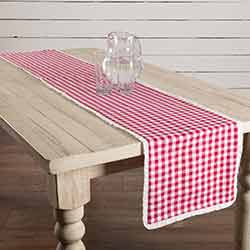 Emmie Red White Check 90 inch Table Runner