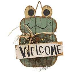 Lath Welcome Frog Hanger