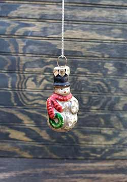 Snowman Mini Glass Ornament