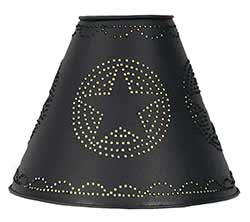 Star Punched Tin Lamp Shade - Black