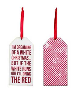 White Christmas Wine Bottle Tag / Ornament