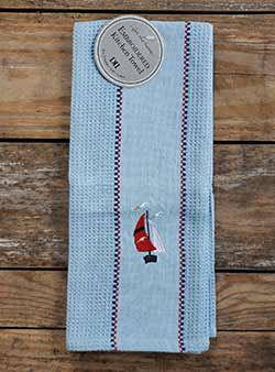 Sailboat Embroidered Dishtowel