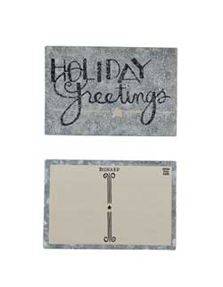 Holiday Greetings Tin Postcard