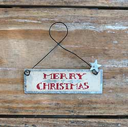 Merry Christmas Tin Sign Ornament