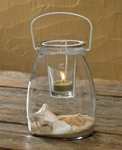 Jar with Votive Holder - White