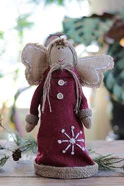 Red Burlap Snowy Angel