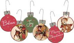 Retro Deer Ball Ornament (Set of 3)