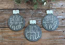 Grey Christmas Bulb Ornaments (Set of 3)
