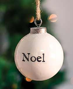 Noel White Ceramic Ornament