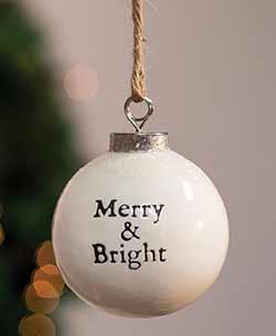 Merry & Bright White Ceramic Ornament