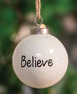 Believe White Ceramic Ornament