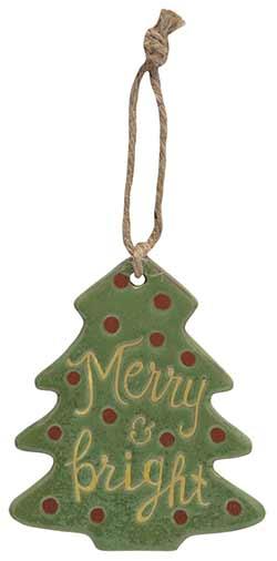Merry Primitive Ceramic Tree Ornament