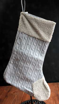 Grey Sweater Knit Stocking