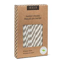 Grey Striped Paper Straws (Box of 100)