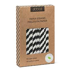 Black and White Striped Paper Straws (Box of 100)