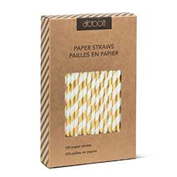 Gold and White Striped Paper Straws (Box of 100)