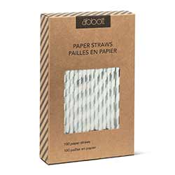 Silver and White Striped Paper Straws (Box of 100)