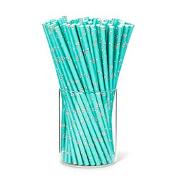 Aqua Candy Cane Paper Straws (Set of 25)