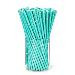 Aqua Candy Cane Paper Straws (Set of 25)