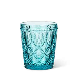 Turquoise Jewel Glass Lowball Tumblers (Set of 6)