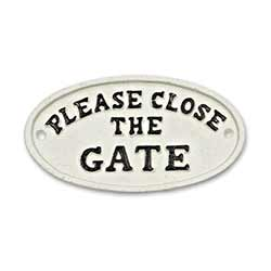 Please Close the Gate Sign - White