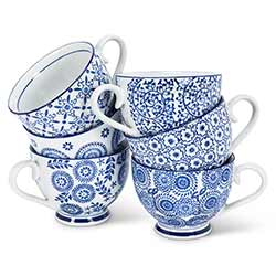Indigo Cups with Handles (Set of 6)