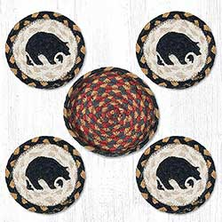 Black Bear Braided Coaster Set