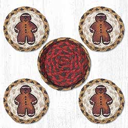 Gingerbread Man Braided Coaster Set