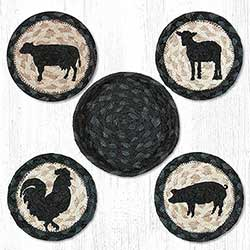 Barnyard Animal Braided Coaster Set